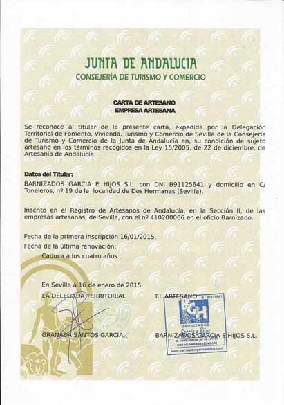 Certificados de Artesanía - La Tienda de García Hijos